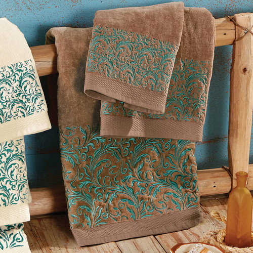 Western Scroll Turquoise Towel Set - Brown