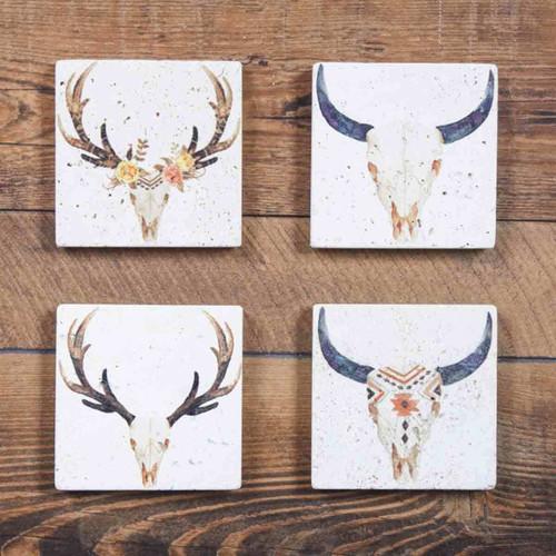 Western Skull Coasters - Set of 4