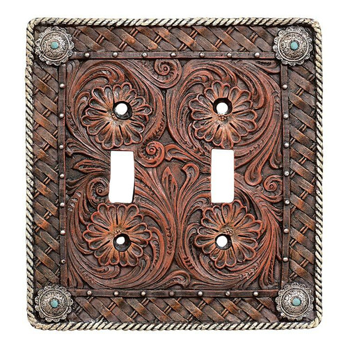 Western Tooled Leather Double Switch Plate