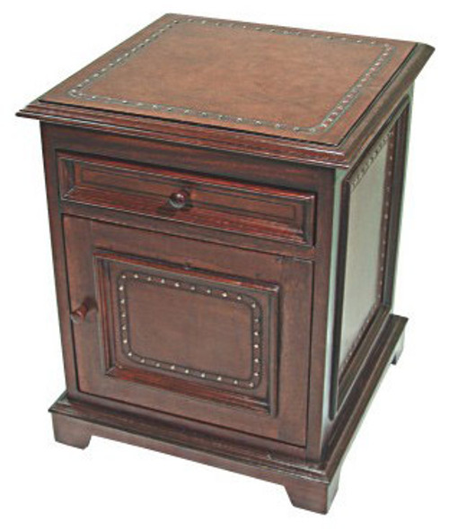 Large Leather Nightstand - Plain with Tacks - Brown