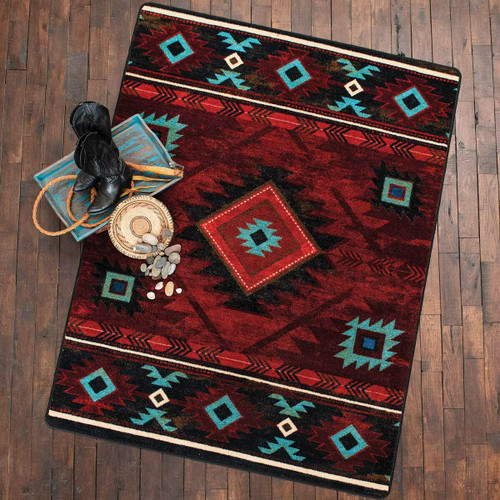 Whiskey River Red Rug - 5 x 8