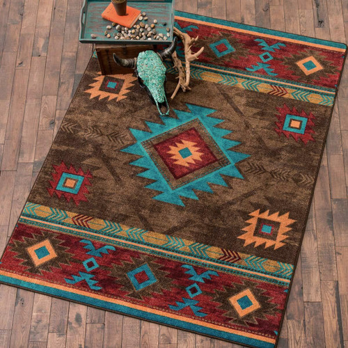 Whiskey River Turquoise Rug - 11 x 13