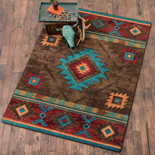 Whiskey River Turquoise Rug - 2 x 8
