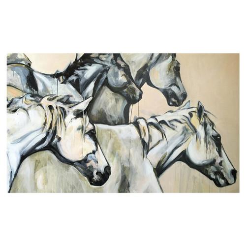 White Stallion Gallop Canvas Art