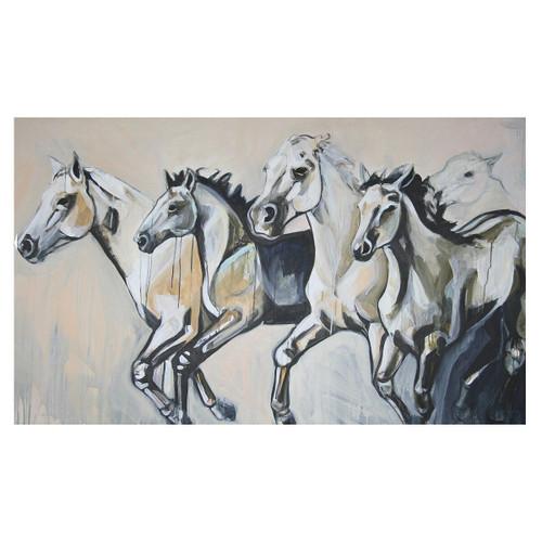 White Stallion Stampede Canvas Art