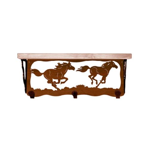 Wild Horses 20 Inch Pine Hook Shelf