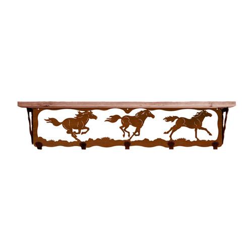 Wild Horses 34 Inch Pine Hook Shelf