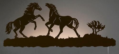 Wild Horses Back Lit Wall Art