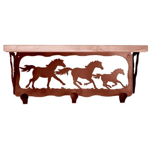 Wild Horses Coat Rack with Shelf - 20 Inch