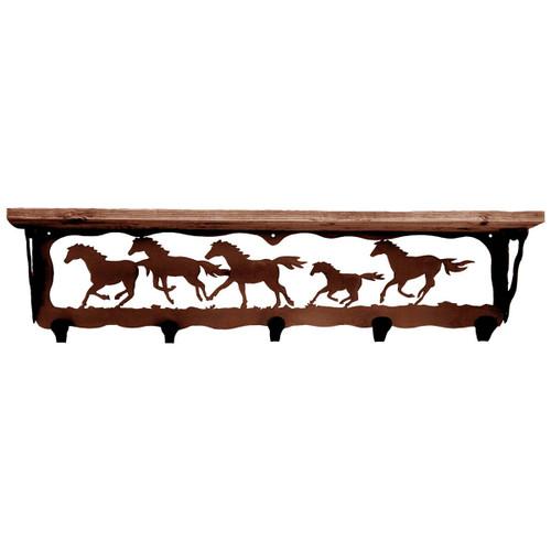 Wild Horses Coat Rack with Shelf - 34 Inch