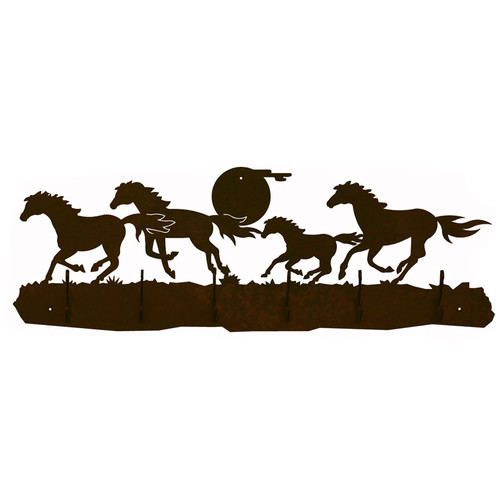Wild Horses Scenic Six Hook Coat Rack