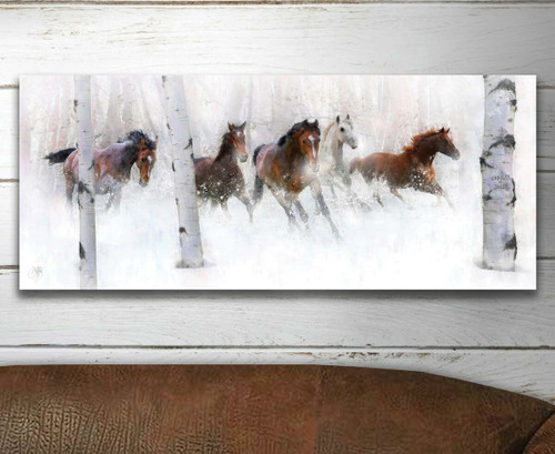 Wild Winter Horses Personalized Block Mount