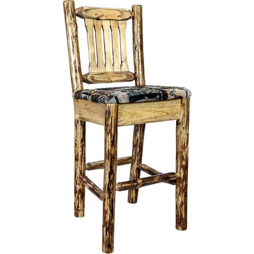 Woodsman Barstool with Back & Woodland Upholstered Seat