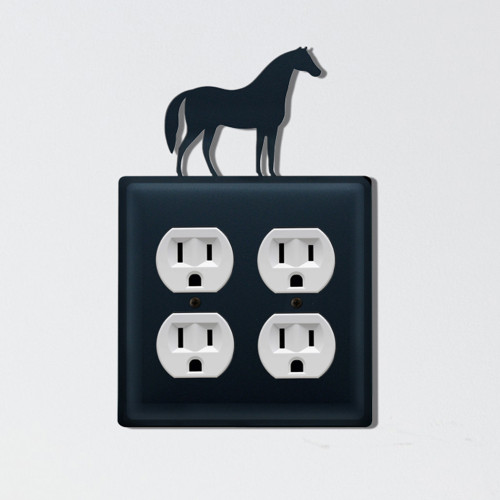 Wrought Iron Horse Double Outlet Cover