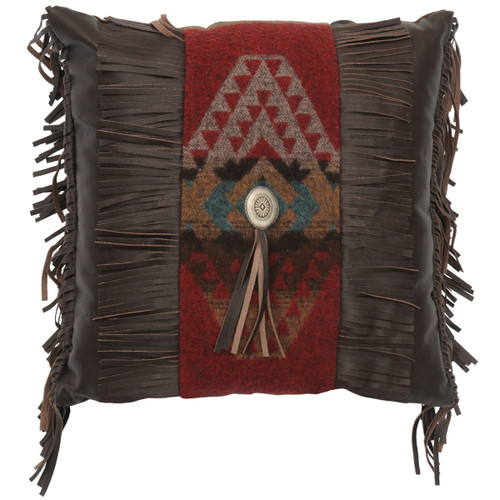 Yellowstone III Square Pillow with Leather Reverse