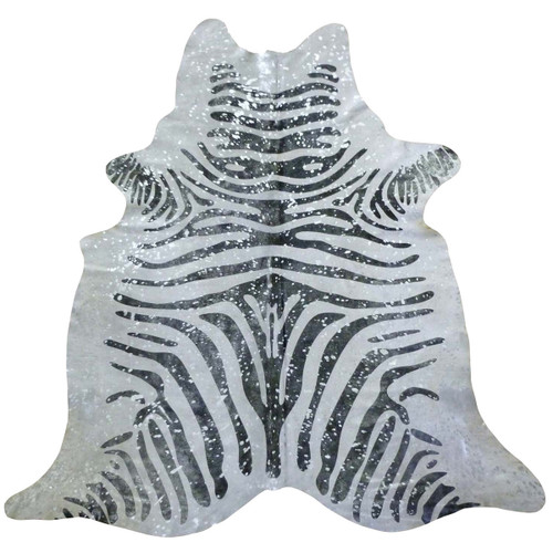 Zebra with Silver Metallic Splash Cowhide - Large