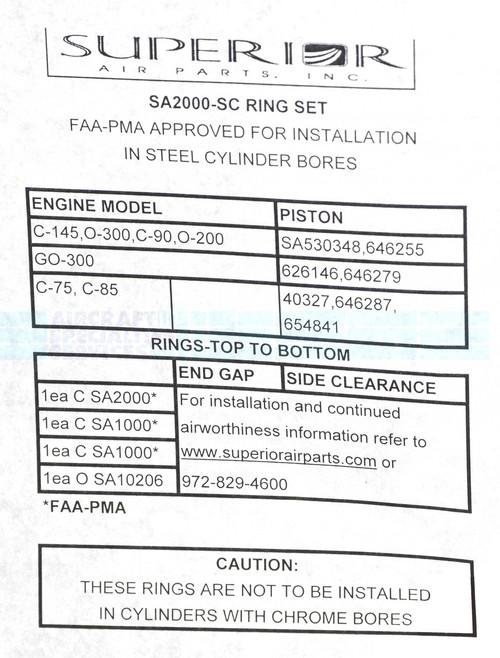 Ring Set Single Cylinder - SA2000-SC
