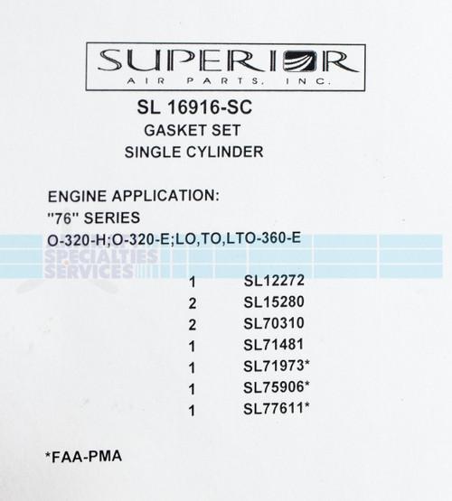 Gasket Set Single Cylinder - SL16916-SC