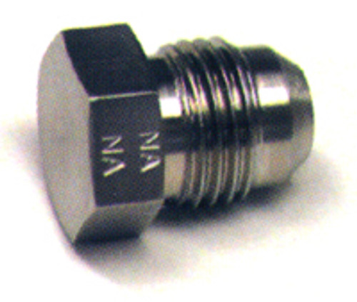 Plug Flared Tube Fitting, Aluminum, O.D. 3/16, Thread Size 3/8-24 - AN806-3D