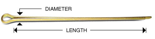 "Cotter Pins, 1/8"" dia x 2"" length (100 per pack) - MS24665-360"