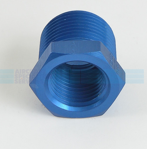 Pipe Bushing, Pipe thread reducer, Aluminum, Size 3/4 - 1/2 - AN912-7D