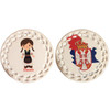 DUAL SIDED Personalized Ceramic Ornament: Kosovo/Serbian Girl Dancer Design- ANY LANGUAGE!