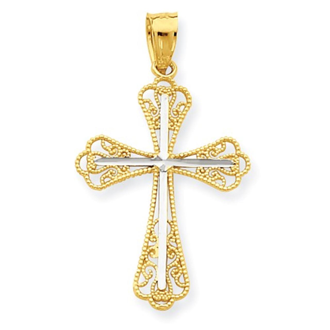 10K Rhodium Plated Yellow Gold /& Rhodium Crucifix Pendant
