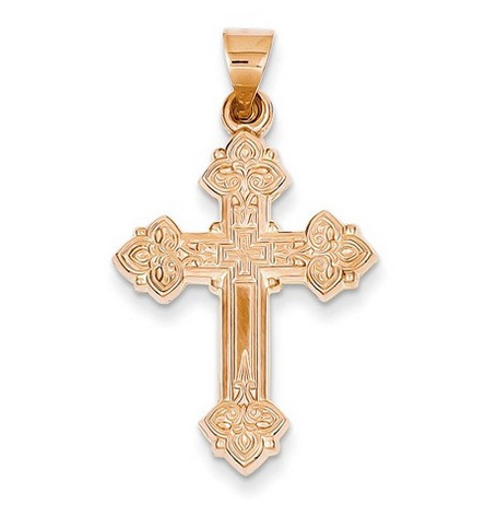 14K Rose Gold Ornate Cross- 1 1/4""