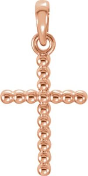 """14K Rose Gold Beaded Cross- 3/4"""""""