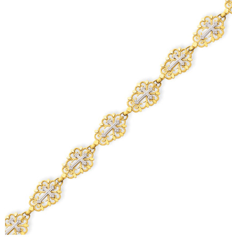 14KT Two-Tone Diamond Cut Cross Bracelet