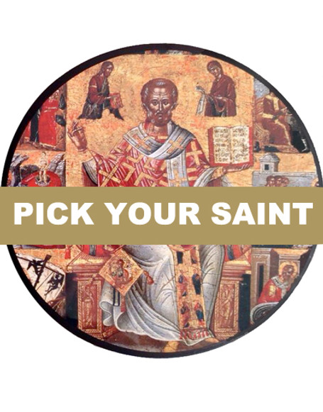 "Pick-Your-Saint Mounted Icon- 8"" Round"