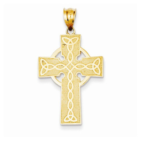 14KT Irish Cross Pendant- 1 1/8""