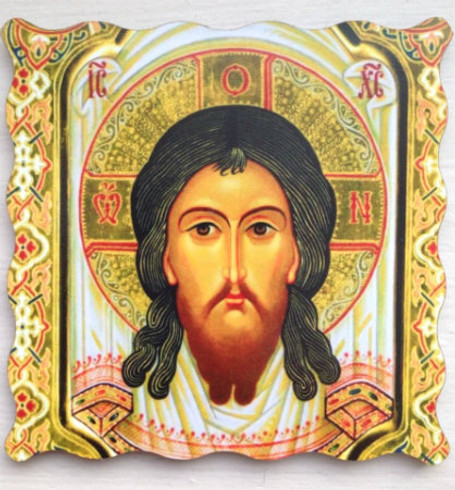 """Icon of Christ """"Made Without Hands"""" Thick Acrylic Icon Magnet"""