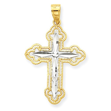 10KT and Rhodium Byzantine Cross Pendant- 1""