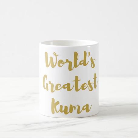 World's Greatest Kuma Coffee Mug in Gold or Silver Metallic Foil
