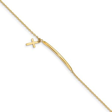 """14KT Polished Cross 6"""" Children's Bracelet"""