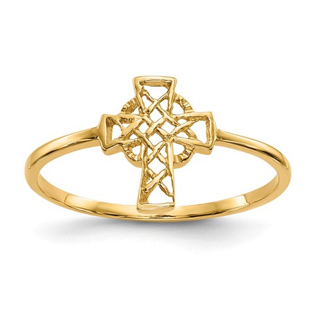 14K Yellow Gold Polished Celtic Cross Ring