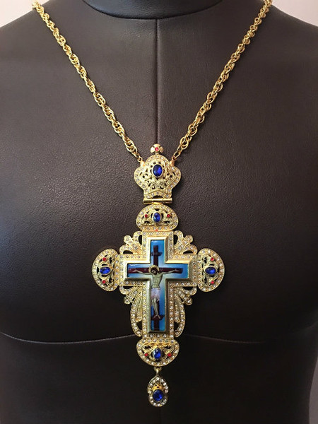 Gold Plated Pectoral Cross with Blue Jewels