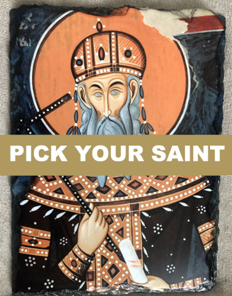 """Pick-Your-Saint 5 1/2"""" x 7 1/2"""" Slate Mounted Icon Print with Stand"""