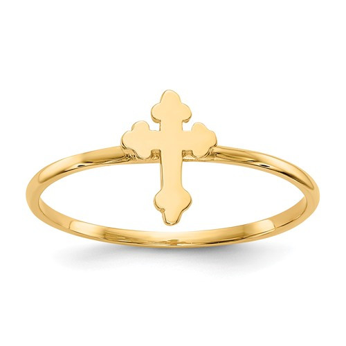 14KT Gold Polished Orthodox Cross Ring