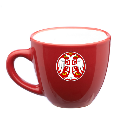 Serbian Coat of Arms Espresso Cups: Set of 4- Red