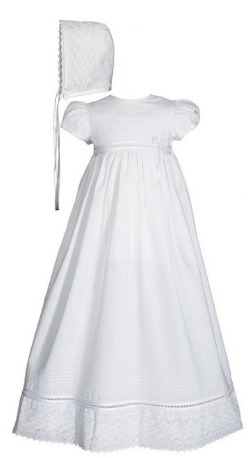 Girls 30″ White Cotton Dress Baptismal Gown Baptism Gown with Lace