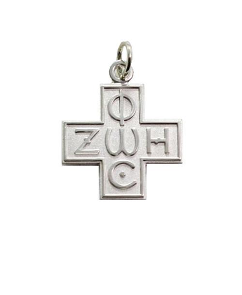 """Sterling Silver Phos Zoe Greek Style Cross- 1 1/4"""""""