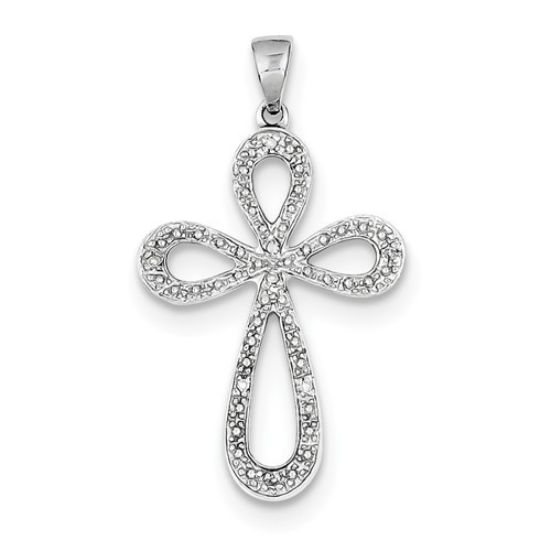 Sterling Silver Rhodium Plated Diamond Cross Pendant- 1 1/8""