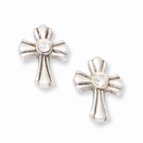 Silver-tone Crystal Cross Post Earrings