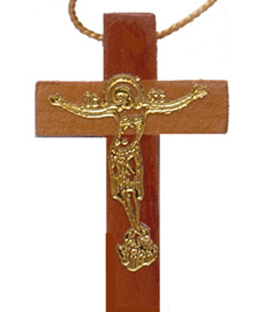 Gold Embossed Christ Wooden Cross- 2""