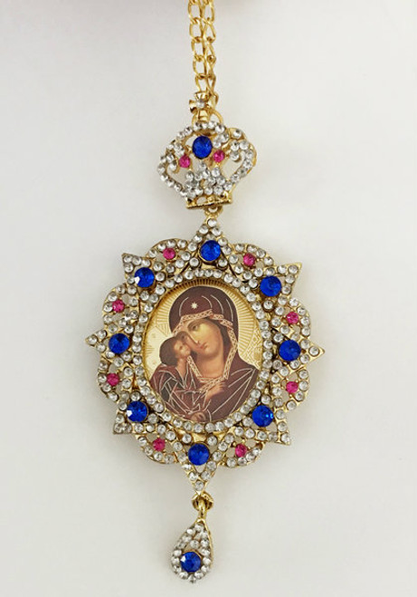 Jeweled Theotokos and Christ Christmas Ornament