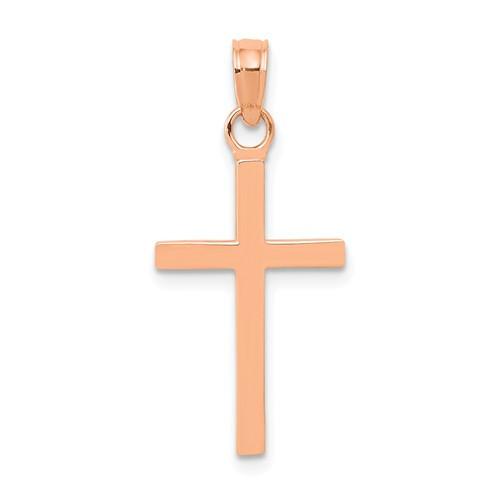 """14KT Rose Gold Simple Cross- Medium: 1"""""""