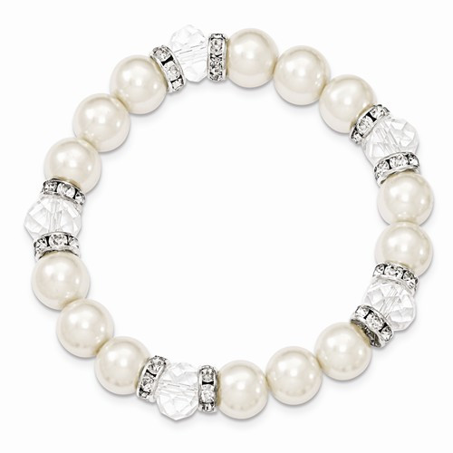Silver-tone White Crystal Simulated Pearl Stretch Bracelet