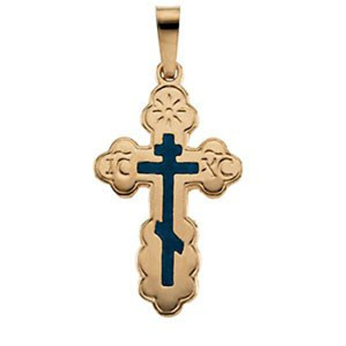 14KT St. Olga Style Cross with Blue Enamel- Small (Inscribed)- FREE 2DAY SHIPPING!*
